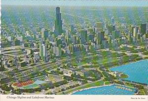 Illinois Chicago Skyline And Lakefront Marinas