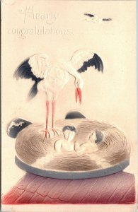 Stork Hearty Congratulations Airbrushed Antique Postcard Vintage Post Card