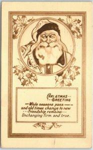 Vintage BERGMAN Christmas Greeting Postcard SANTA CLAUS w/ 1913 Cancel