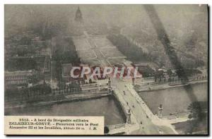 Old Postcard Aviation Zeppelin Airship board the airship Scout Conte Panorama...