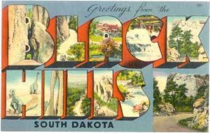Greetings from The BLACK HILLS, South Dakota, SD, Larrge Letters Linen