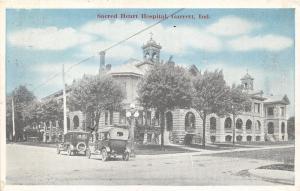 Garrett Indiana~Sacred Heart Hospital~Vintage Cars in Street~1920 Blue Sky Pc