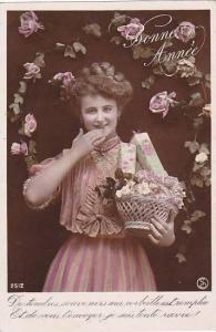 RP; Bonne Annee, Woman holding a basket of flowers and gifts, roses overhead,...