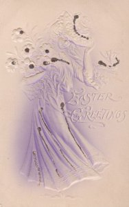 EASTER, 00-10s; Greetings, Embossed Woman wearing hat and gown, Glitter detail