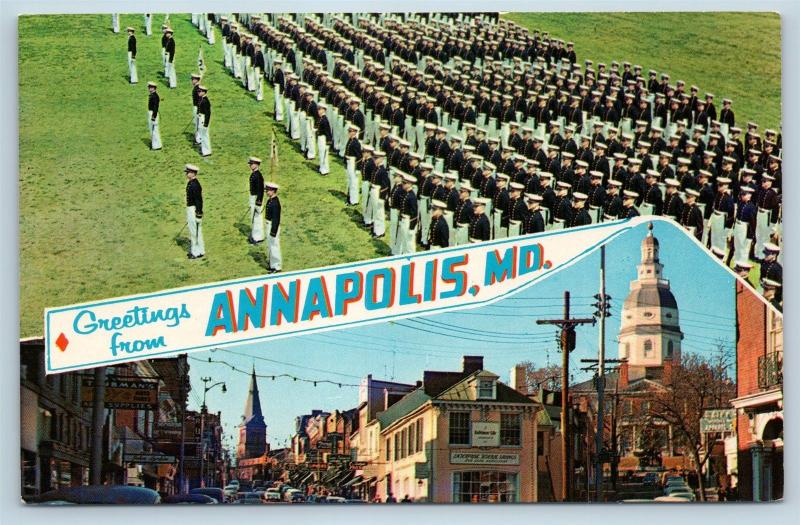 Postcard MD Banner Dual View Greetings From Annapolis Maryland O16