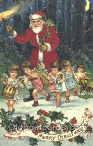 Silk Santa Claus Postcard Postcards writing on back