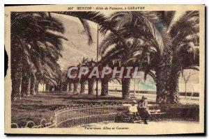 Old Postcard Menton Garavan Allee Palmiers