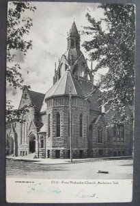 First Methodist Church Anderson IN 1907 Illustrated Post Card Co 17111 UDB