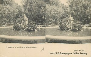 Postcard Italy ROME stereographic image Fontana Moise