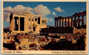 Vintage TWA Trans World Airlines Adv. Postcard GREECE Acropolis at Athens