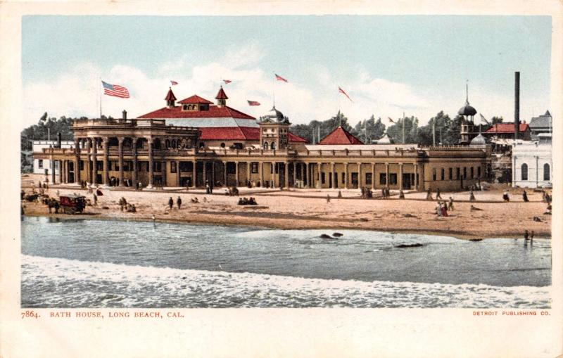 LONG BEACH CALIFORNIA BATH HOUSE~DETROIT PUBL #7864 POSTCARD 1900s