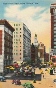 Postcard Looking Down Main Street Hartford Conn