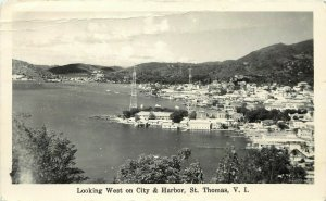 RPPC Postcard; Looking West on City & Harbor, St. Thomas V.I. Posted 1945