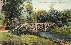 Quincy Illinois~South Park~Rustic Bridge~Man on the Bridge~1914~Post Card