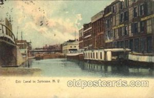 Erie Canal in Syracuse, New York, NY USA Canal 1908 crease right bottom corne...