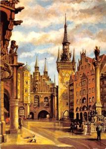 Muenchen Marienplatz, Blick zum Alten Rathaus Town Hall