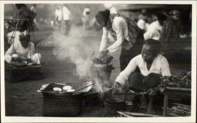Probably Bali Indonesia Natives Cooking in Street Real Photo Postcard