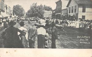 Wellman Iowa~Crowd Downtown~Parade~Old Settlers Day~1909 B&W Postcard