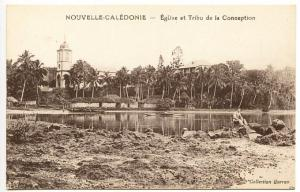 New Caledonia Eglise et Tribu de la Conception Postcard