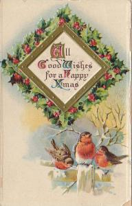 Embossed, All Good Wishes for a Happy Xmas,  Holly, Three sparrows, 00-10s