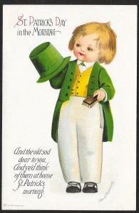 St Patricks Day in the Morning Boy in Green Coat & Hat Unused c1910s Clappsaddle