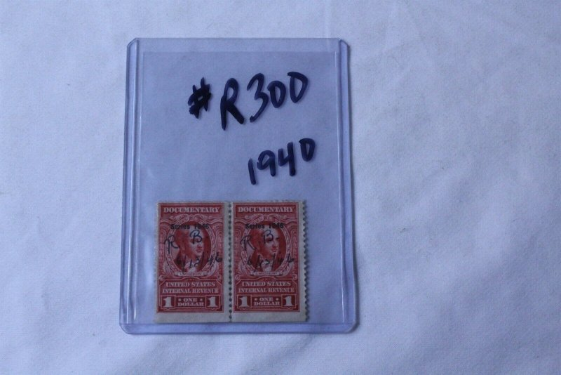 United States Series 1946 Revenue Stamps 2 Stamp Block Used Hand Cancelled