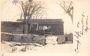 B8/ Lebanon New Hampshire NH Real Photo RPPC Postcard 1909 Man Camping Cabin Saw