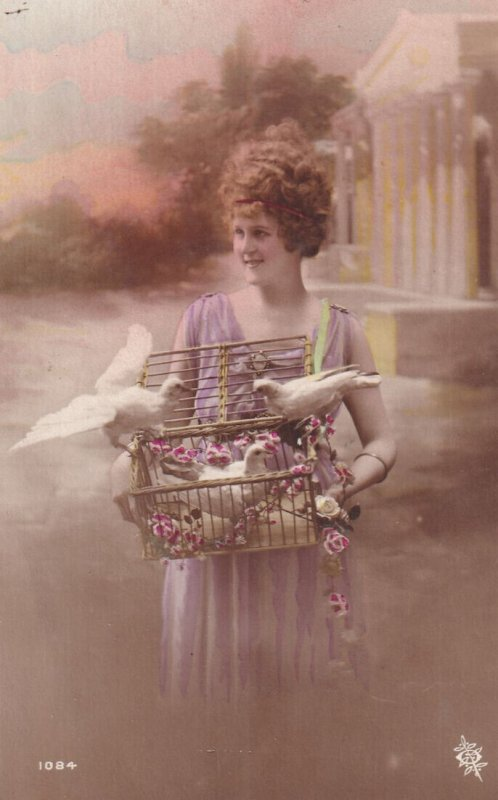 RP;  Woman carrying a cage full of Doves, 1900-10s (2)