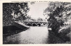 Tioughnioga River, North Maine Street Bridge, Homer, New York, 1940-50s