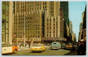 New York City~Radio City Music Hall Corner~Taxi Cabs~1950s Cars~VW Van~Postcard