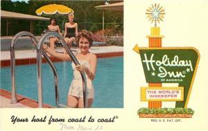 Lake City Florida~Holiday Inn~Bathing Beauties Poolside~1960 Postcard