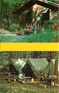 Hiram Ohio~Camp Asbury~Cabin~Tents~United Methodist Church Camp~1960s Postcard
