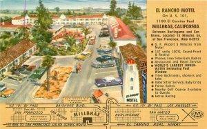 El Rancho Motel Millbrae California roadside Stecher Traung Postcard 7864