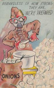 Comic Military; Soldier chopping onions in a pot, PU-1942