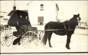Horse Pulled Wagon in Winter - Blanket - Home c1910 Real Photo Postcard