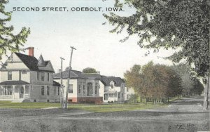 Second Street Scene, Odebolt, Iowa ca 1910s Vintage Antique Postcard