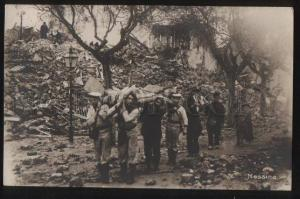 100547 ITALY earthquake Messina soldiers Vintage photo PC