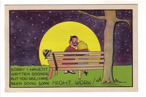 Man and Woman Sitting on Park Bench in Moonlight, I Have Been Doing Some Nigh...
