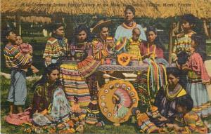 American Native Seminole Indian Family Group at Musa village Miami Florida