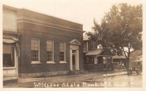 Wildrose Wisconsin~State Bank~Bungalow Next Door~1920s Automobile~RPPC Postcard