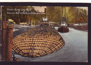 P1640 old unused pc sea going log raft 2 boats columbia river oregon postcard