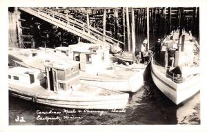 Eastport Maine Canadian Mail and Passanger Boats Real Photo Postcard J75052