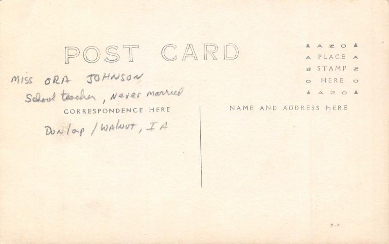 Dunlap-Walnut IA~Ora Johnson~Unmarried School Marm~@ Desk,Grades Paper RPPC 1918