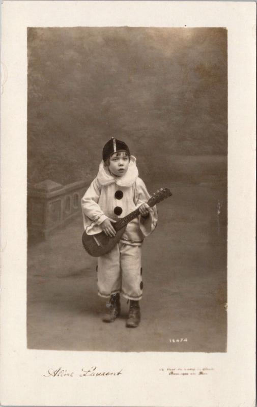 Young Boy w/ Ukulele Music Child Musician Albert Laurent Real Photo Postcard E32