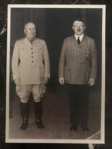 Mint Germany RPPC  Postcard Historical Meeting Munich 1940 Hitler & Mussolini