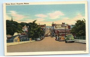 Water Street Town View Classic old Cars Augusta Maine ME Vintage Postcard B04
