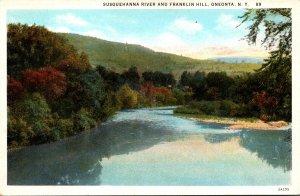 New York Oneonta Susquehanna River and Franklin Hill Curteich