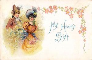 Greetings Romance My Hearts Gift Antique Postcard J39897