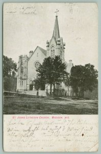 Madison Wisconsin~St Johns Lutheran Church~Stained Glass~c1906 Postcard