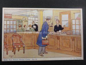 No.1 LE BUREAU Bell's New French Picture Card SET II Artist H.Brock c1930's